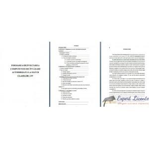 FORMAREA DEZVOLTAREA COMPETENŢEI DE ÎNVĂŢARE AUTODIRIJATĂ LA ELEVII CLASELOR  I-IV - LUCRARE DE LICENTA