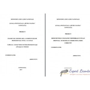 DEFICIENTELE COLOANEI VERTEBRALE IN PLAN FRONTAL: SCOLIOZA SI  EXERCITIUL FIZIC CORECTIV