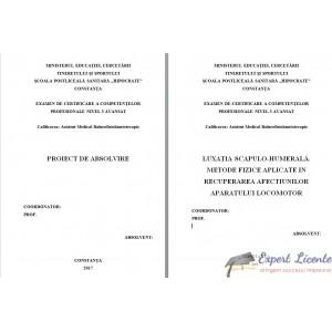 LUXAŢIA SCAPULO-HUMERALĂ. METODE FIZICE APLICATE IN RECUPERAREA AFECTIUNILOR APARATULUI LOCOMOTOR