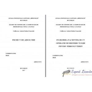 INGRIJIREA PACIENTELOR CU OPERATIE DE HISTERECTOMIE PENTRU FIBROM UTERIN
