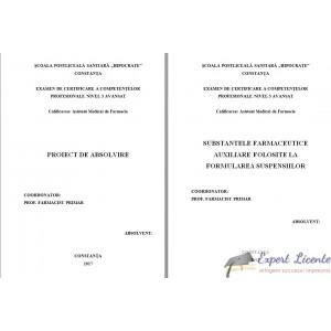 SUBSTANTELE FARMACEUTICE AUXILIARE FOLOSITE LA FORMULAREA SUSPENSIILOR