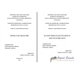 PLANTE MEDICINALE FOLOSITE IN AFECTIUNI HEPATICE