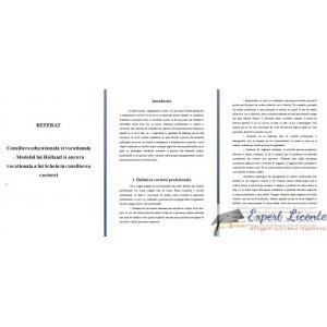 MODELUL LUI HOLLAND SI ANCORA VOCATIONALA A LUI SCHEIN IN CONSILIEREA CARIEREI