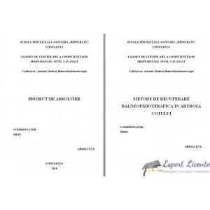 METODE DE RECUPERARE BALNEOFIZIOTERAPICA IN ARTROZA COTULUI